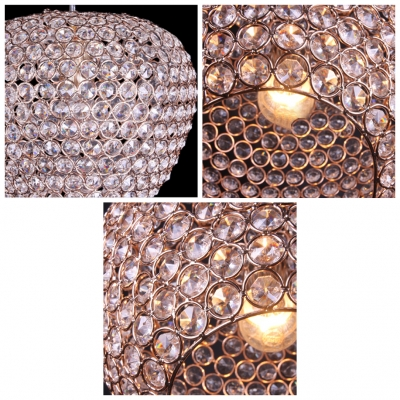 Creative Apple Shade Crystal and Luxury Gold Finish Add Glamour to Magnificent Large Pendant Light