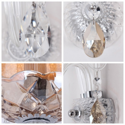 Dazzling Faceted Crystal Drops and Elegant Orange Fabric Shade Formed Stunning Wall Sconce
