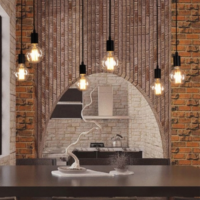 6 Light Edison Spider Multi Light Pendant in Black Industrial Style Lights for Restaurant Living Room