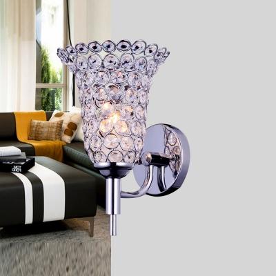elegant single light flower like crystal shade stylish wall sconce