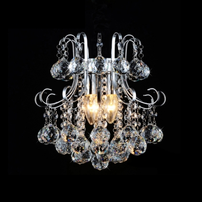 Купить со скидкой Exquisite Three Lights Crystal Cascade Modern Large Pendant Light Finished in Polished Chrome