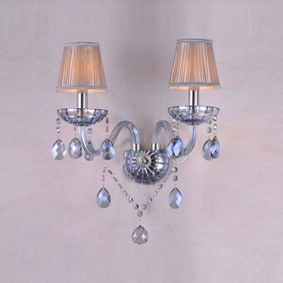 Gleaming Blue Glass Framework Adorned with Crystal Drops Made Stunning Wall Sconce Glamorous Look