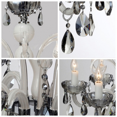 Graceful Crystal Scrolls and Charming Gray Crystal 6 Candle Lights Chandelier
