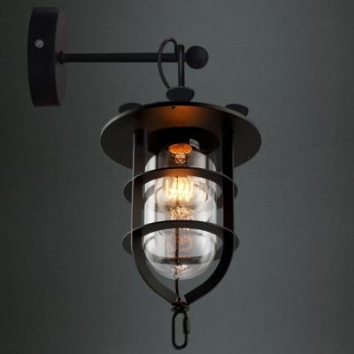 Lantern like black finished led mini wall light with outer cage lantern like black finished led mini wall light with outer cage mozeypictures Gallery