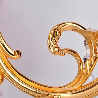 Lavish Dazzling Gold Finish and Crystal Drops Add Glamour to Delightful Three Light Wall Sconce