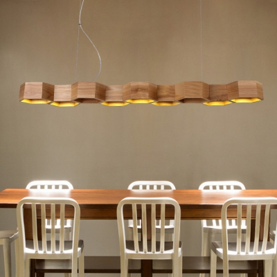 Long Seven Lights Honeycomb Shaped Designer Island Light for Restaurant