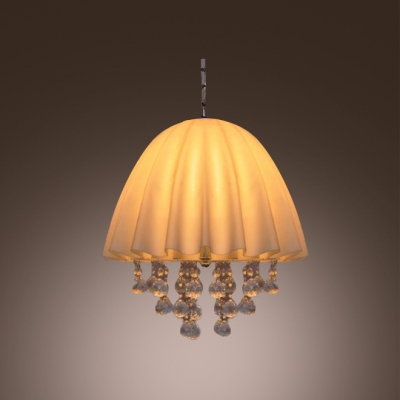 Lovely White Fabric Shade and Crystal Balls Add Charm to Decorative Three-light Large Pendant