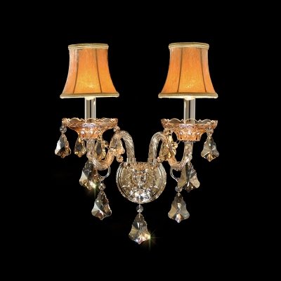 Luxury Two Light Wall Sconce Features Bold Red Fabric Shades with Crystal Droplets