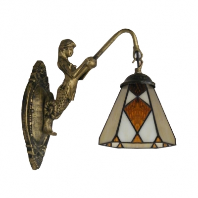 Mermaid Down Lighting Art Glass Wall Sconce with Antique Brass ...