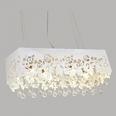 Pendant Light Adorned with Flower Motif  Shade and Clear Crystal Drops Creating Fashion Touching