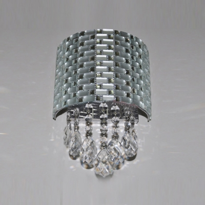 Radiant Silver Wall Sconce with Intricate Steel Web Surrounding Clear Cut Crystal Strands