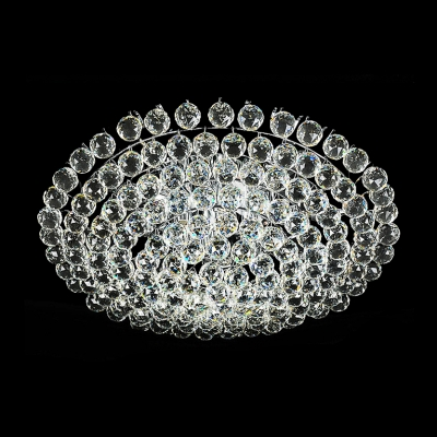 Rounded All Cluster of Sparkling Crystal Balls Flush Mount in Chrome Finish