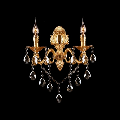 Sophisticated 20'' High Wall Light Fixture Completed with Graceful Curving Scrolling Arms and Beautiful Crystal Drops