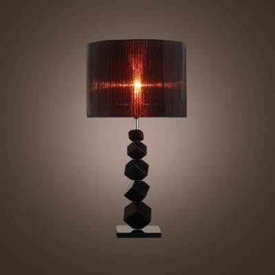 Sparkling Angular Black Crystal Cubes Create Contemporary Table Lamp Topped  With Black Fabric Drum Shade