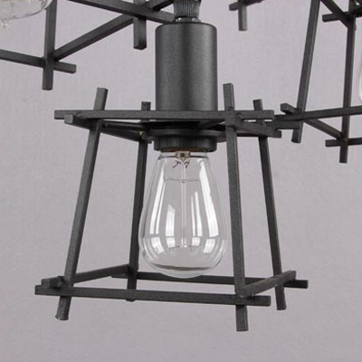Ten-light Wrought Iron Branched Industrial LED Multi-light Pendant