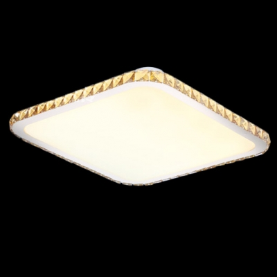 Warm and Chic Square LED Flush Mount Ceiling Lights Accented by Champagne Crystals