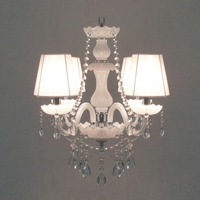 White Bell Shade Clear Crystal Creamy Finish Chandelier Hanging Bright Crystal Drops