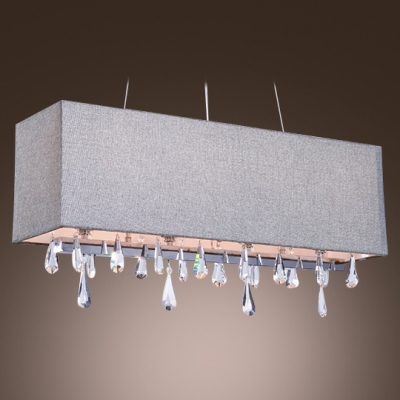 White Fabric Makes Elaborate Pattern and Crystal Strands Come to Life in Beautiful Island Chandelier