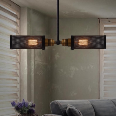 wrought iron short cylinder net industrial linear pendant
