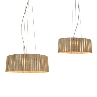 Wide Wood Drum Shaded Large Pendant Light For Dining Room 17.7""