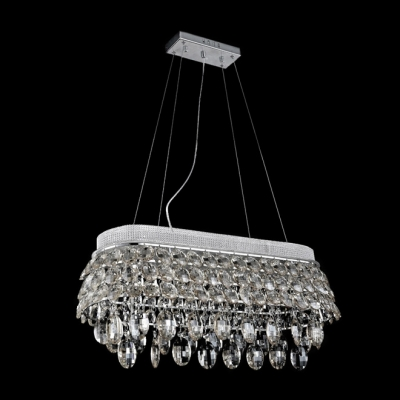 50'' Wide Crystal Island Pendant Light Features Graceful Lead Crystal Drops and Beads