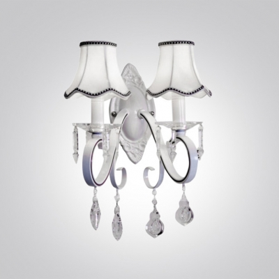 Amazing White Wrought Iron Frame and Clear Crystal Drops Add Charm to Elegant and Delightful Double Light Wall Sconce