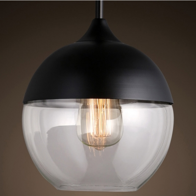 Ball Mini Industrial Black/White Socket Pendant Light
