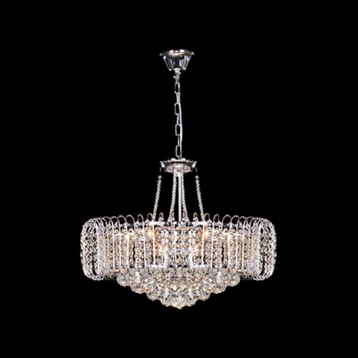Bold and Elegant Pendant Light  Hanging Cluster of Crystal Globes and Crystal Beaded Strands