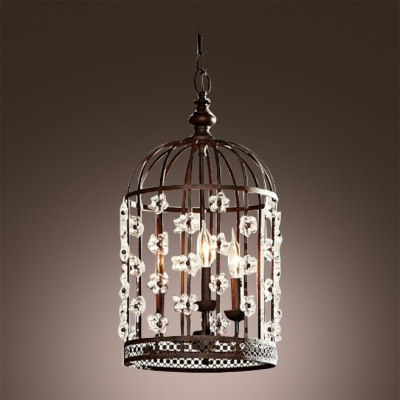 Bold Design Bird Cage Shape Antique Black Wrought Iron Pendant Chandelier Accented by Crystal Floral