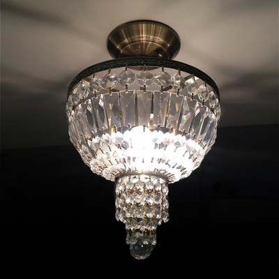 Brass Finish Paired with Hand-cut Crystal Completed Wonderful Captivating Semi Flushmount Ceiling