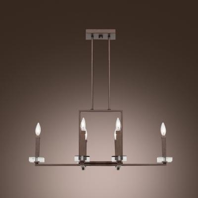 Breathtaking Crystal Bobeche Sparkling Square Frame Four-light Pendant Light
