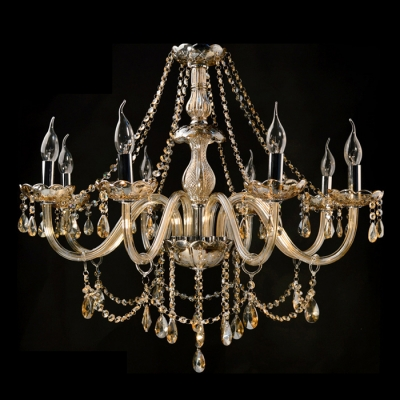 Bright Clear Crystal Strands Waterfall 8 Candle Lights Classic Chandelier