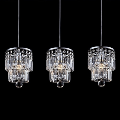 Charming Delightful Multi Light Pendant Features Array of Gleaming Crystal Cylinder