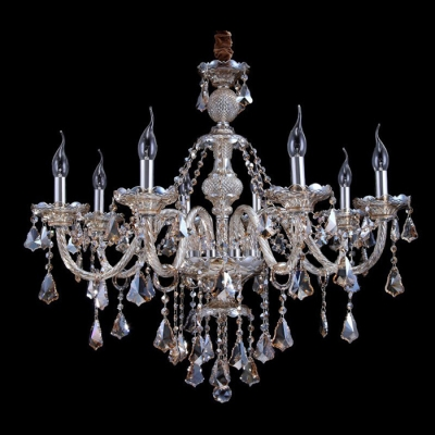 Classic and Elegant Candle Style 6 Lights Chandelier Hanging Amber Crystals