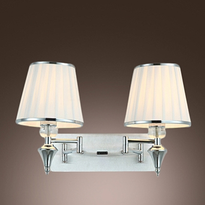 Contemporary Simple Wall Sconce Adorned with Chrome Finish and White Fabric Shade