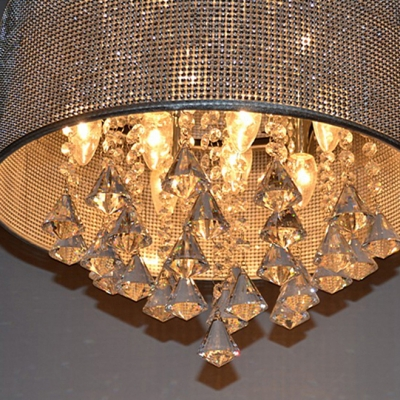 Crystal Diamond Drops Clustered Round Crystal Beads Embedded Shade Large Pendant Light