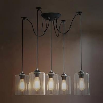 Retro 5 light led multi light pendant with cylindrical shade aloadofball Images