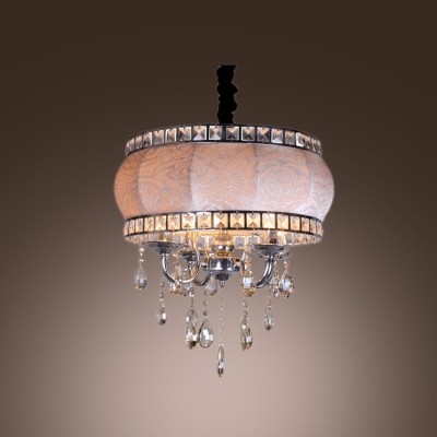 Drum shade chrome finished arms hanging crystal drops chandelier drum shade chrome finished arms hanging crystal drops chandelier pendant aloadofball Gallery