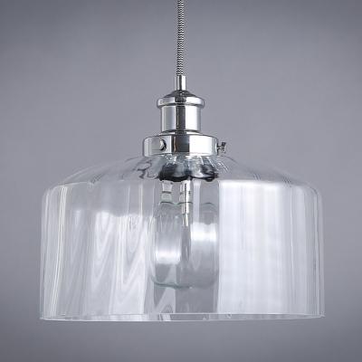 Drum Shape Clear Glass Mini Pendant Light