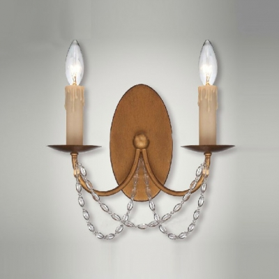 Handsome Antique Brass Finish  Clear Hand-cut Crystal Create Timeless Wall Sconce