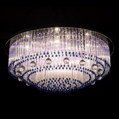 Majestic and Bold Clear Crystal Balls Falling Flush Mount Hanging Blue Crystal Beads