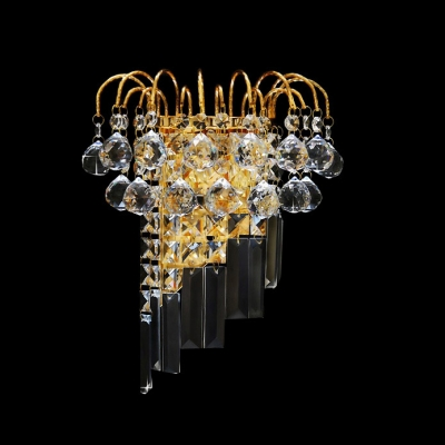 Modern Wall Light Fixture Embellished with Clear Crystal Balls Create Graceful Shimmer