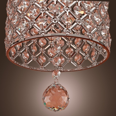 Polished Chrome Finish and Shimmering Pink Crystals Completed Stunning Exquisite Pendant Light