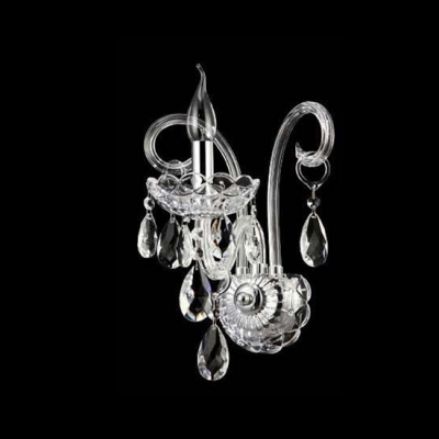 Porcelain Single Light Wall Sconce with Clear Crystal Arms and Drops Prefect for Bedroom Illumination
