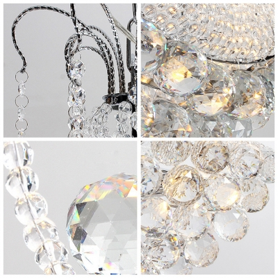 Romantic Crystal Beaded Strands Hanging Pendant Light Accented by Cluster of Crystal Small Globes