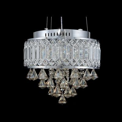 Round Cut Metal Chrome Finished Large Pendant Hanging Plentiful Crystal Diamonds