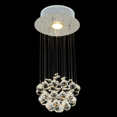 Round Stainless Steel Canopy Floating Crystal Ball 7.8