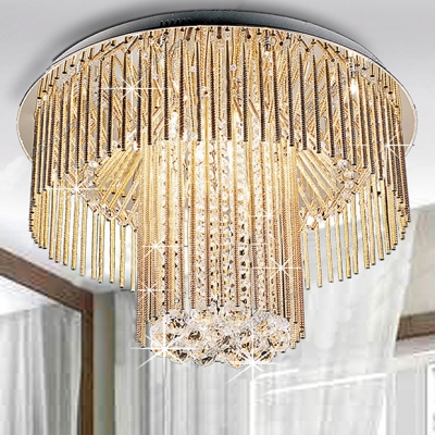 Shinning Crystal Accented Flush Mount with Round Chrome Finished Canopy