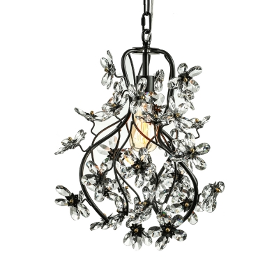 Sparkling clear crystal floral and swirled branches frame black sparkling clear crystal floral and swirled branches frame black wrought iron chandelier mozeypictures Gallery