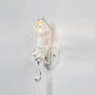 Sparkling Crystal Single Light Wall Sconce Features Elegant White Finish